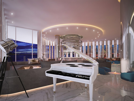 Piano bar in the hotel