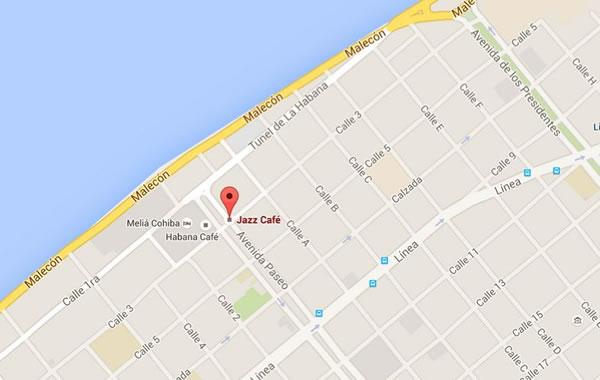 Jazz café, mapa,Havana, Cuba