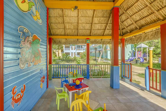 colorful children's furniture under guano roof