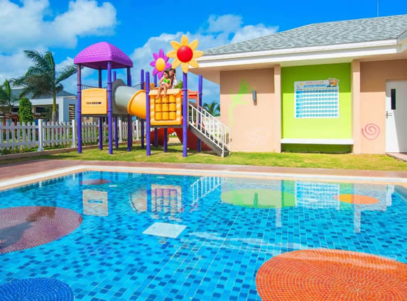 children's pool with colorful playground