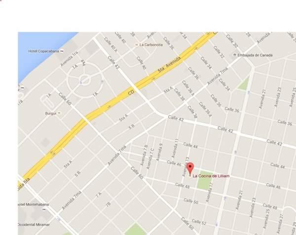 Restaurante La cocina de Lillian, Habana,Cuba,mapa