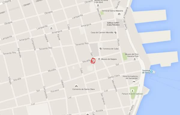 Restaurant La vitrola, La Havana, Cuba,map