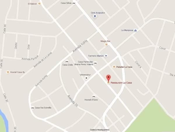 Restaurant La Casa,Havana,Cuba,Map