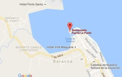 Restaurante Fuerte La Punta, Baracoa, Cuba,mapa