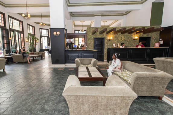 Lobby view and hotel reception