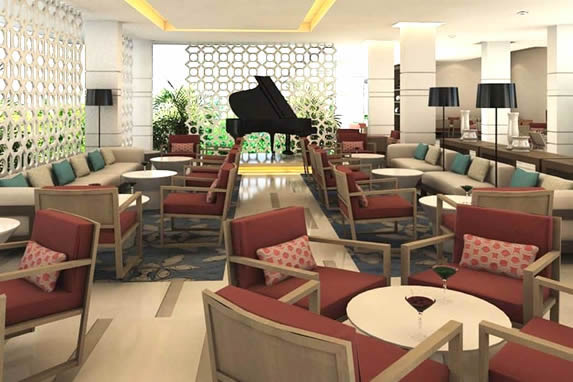 lobby bar with wooden furniture and grand piano