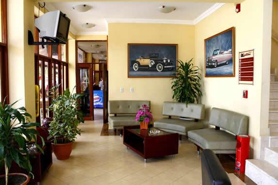 lobby con plantas y cuadros decorativos