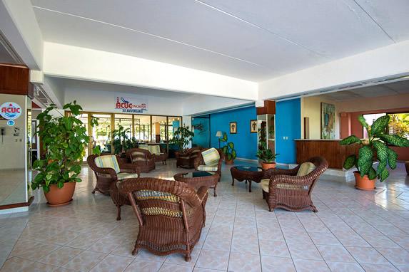 lobby con mobiliario de mimbre y plantas