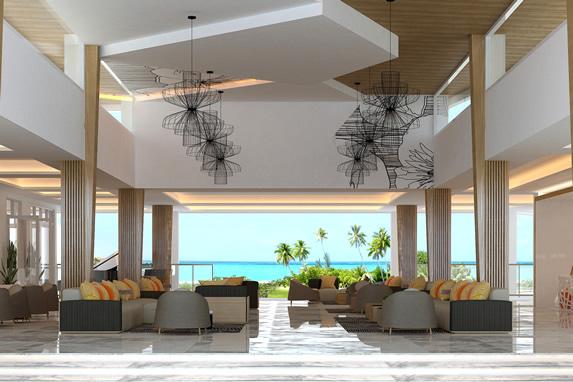 lobby con mobiliario y vista al mar