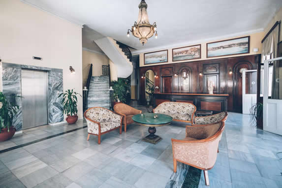 Lobby with antique upholstered furniture