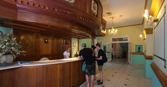 lobby with elegant wooden reception