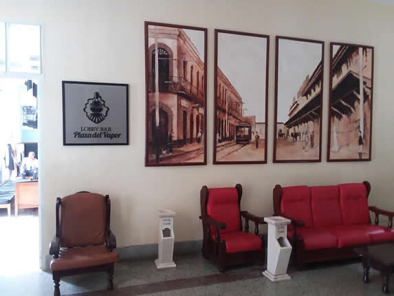 lobby with old wooden furniture