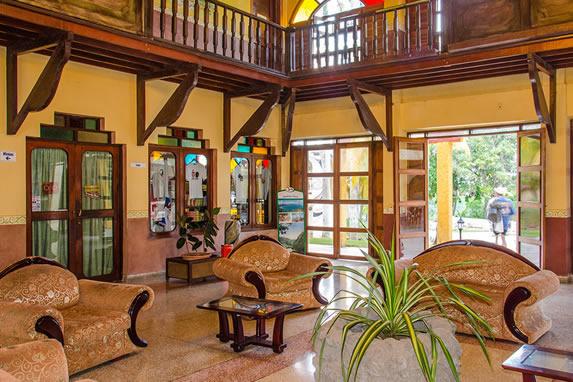 lobby con mobiliario antiguo y plantas