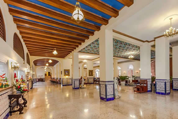 Hotel wooden roofed lobby