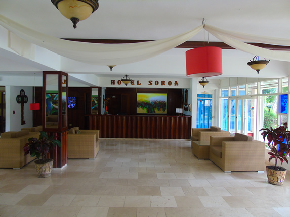 lobby with wicker furniture and decor