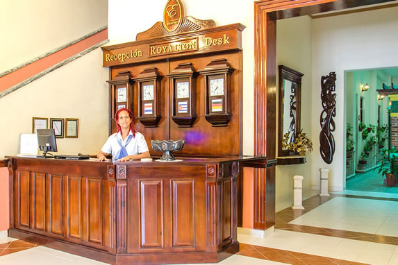 wooden reception in the hotel lobby