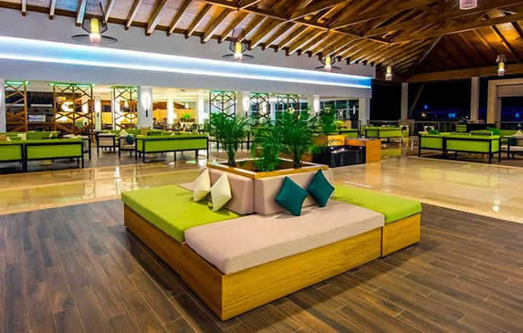 lobby with wooden ceiling and floor and furniture