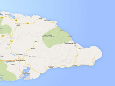 Maguana beach,map, Baracoa, Cuba