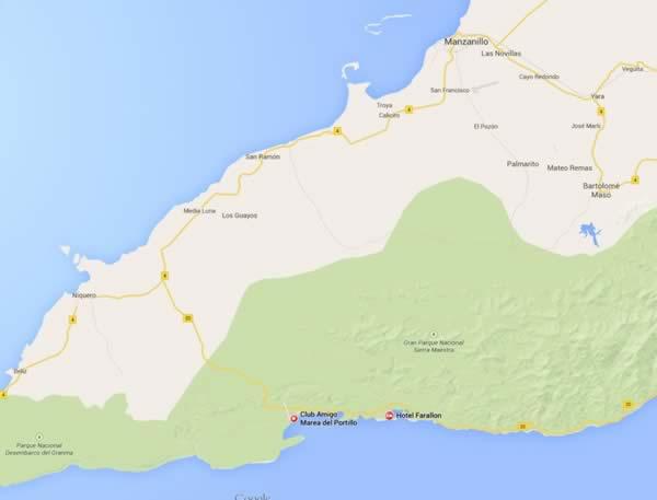 Playa Marea del portillo,mapa,Granma, cuba