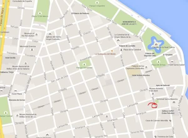Paladar Los Mercaderes,La Havana, Cuba.map