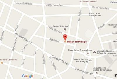 Restaurant Mesón del principe, Camaguey, Cuba,map