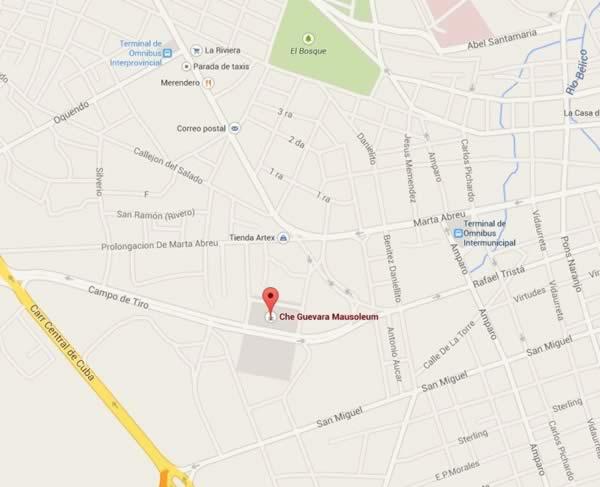 Che guevara memorial, map,Villa clara, cuba