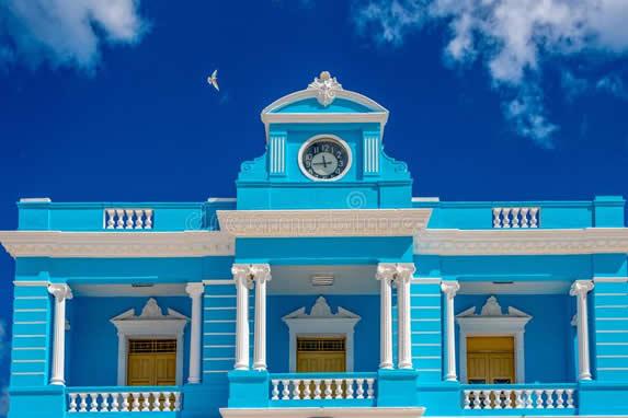 colonial building facade with balconies