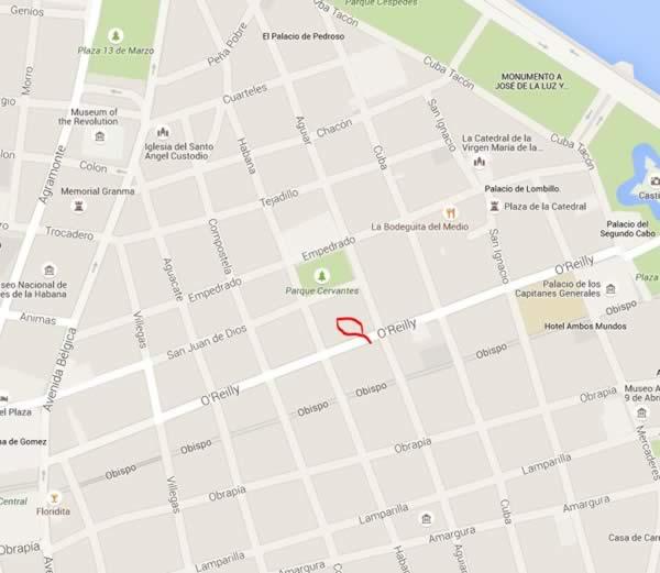 Restaurant O'Reilly 304,La Havana, Cuba,map