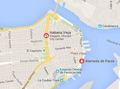 Paseo Marítimo , Habana Vieja, Cuba,mapa