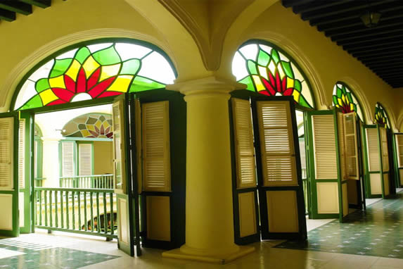 Hotel corridors with  stained glass windows