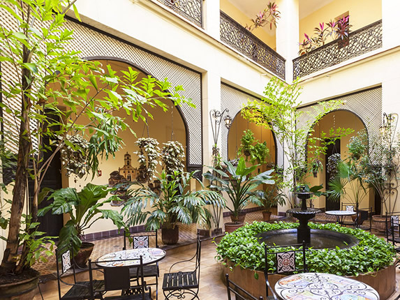 courtyard with furniture and plants