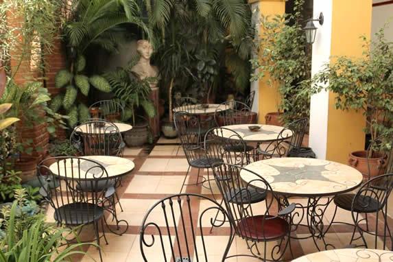 patio con mobiliario y abundante vegetación