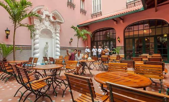 Hotel interior courtyard
