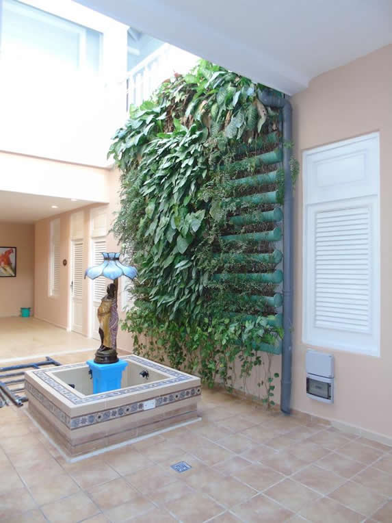inner courtyard with small fountain and greenery