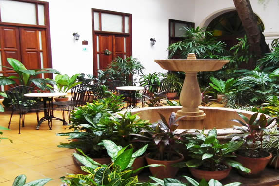 Courtyard view with fountain in the hotel
