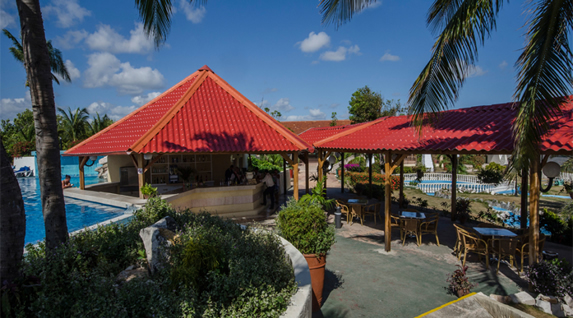 tiled roof cafe next to the pool