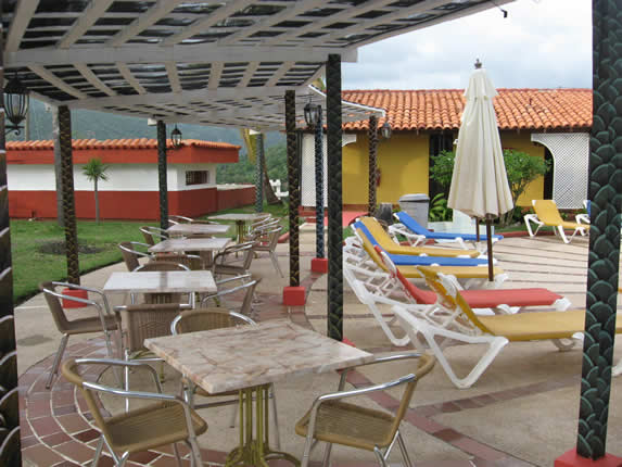 sun loungers and tables around the pool