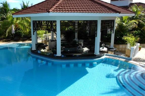 piscina con bar rodeada de palmeras