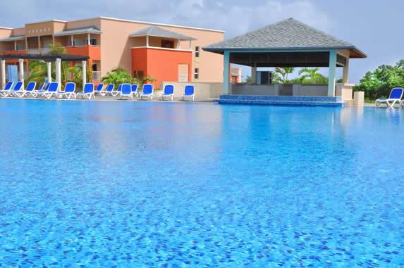 piscina rodeada de palmeras y tumbonas azules