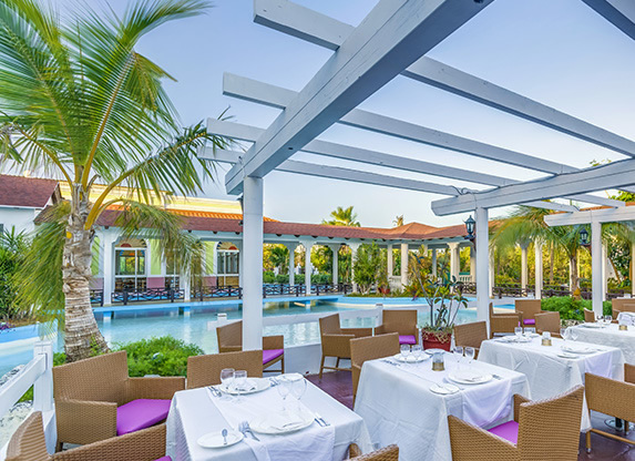 outdoor poolside restaurant