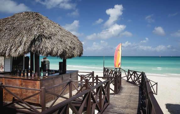 beachfront guano-roofed snack bar