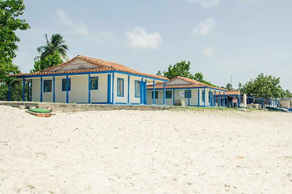wooden bungalows and tile roof on the beach