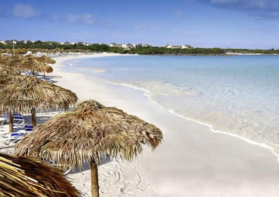 playa con sombrillas de guano y tumbonas azules