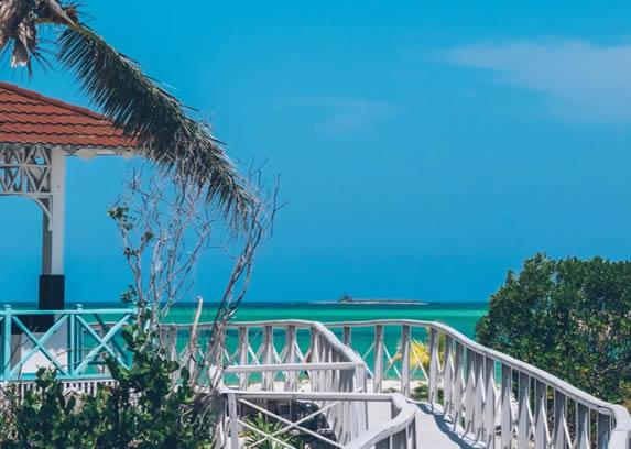 puente de madera blanco camino a la playa