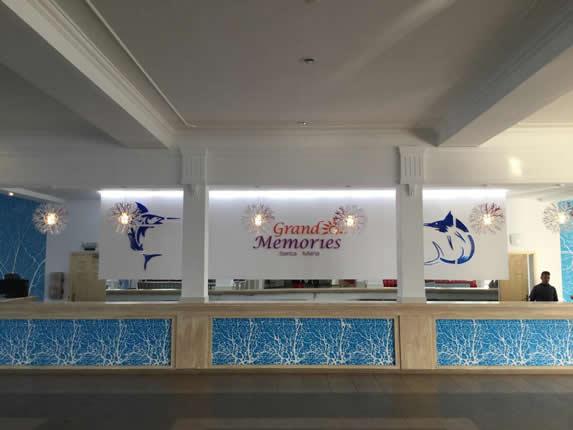 reception desk in the hotel lobby