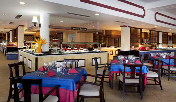 buffet restaurant with food tables