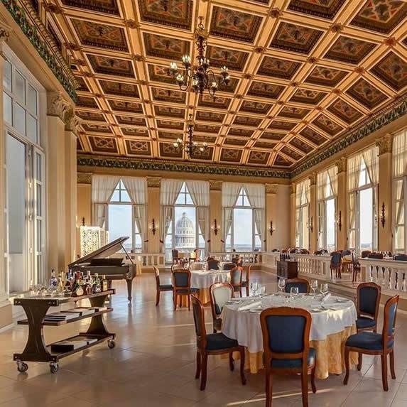 Elegant restaurant at Sevilla hotel