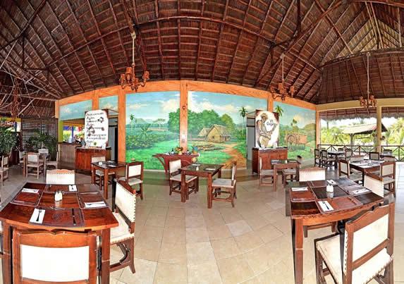 restaurante con techo de guano y muebles rústicos