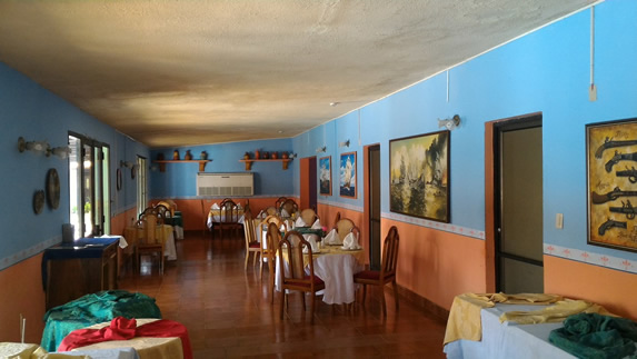 small restaurant with wooden furniture