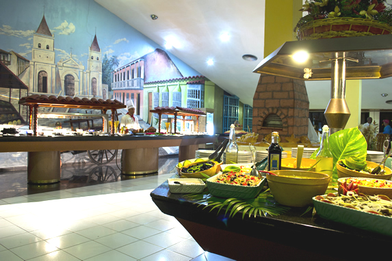 buffet table decorated with wall mural